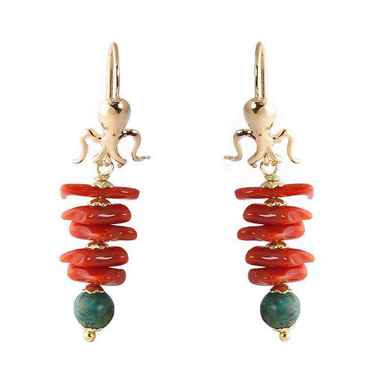 Orecchini polpo argento pendenti corallo rosso e diaspro verde