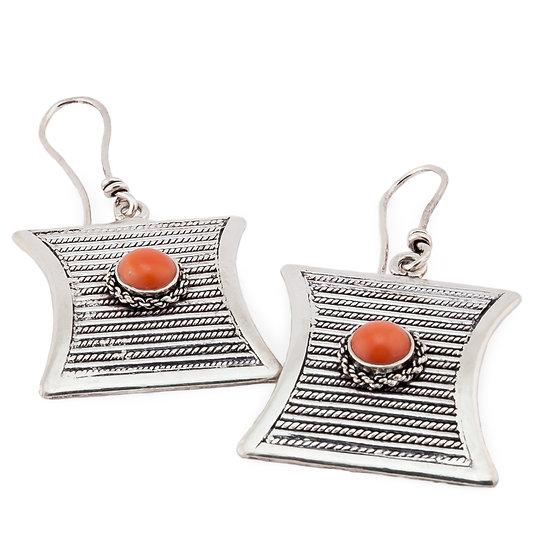 orecchini in argento e corallo
