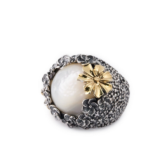 Anello fiori argento e madreperla