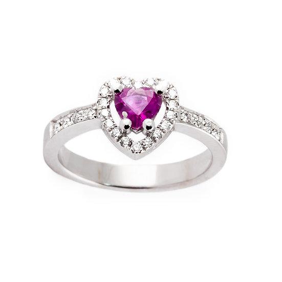Anello cuore rubino, diamanti oro bianco