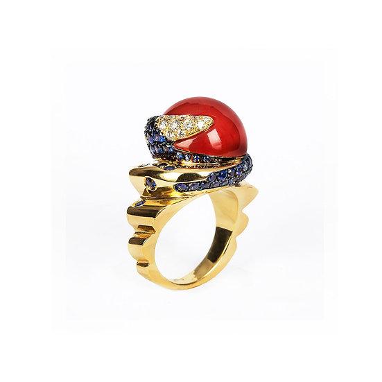 Anello Z in corallo, oro, zaffiri e diamanti