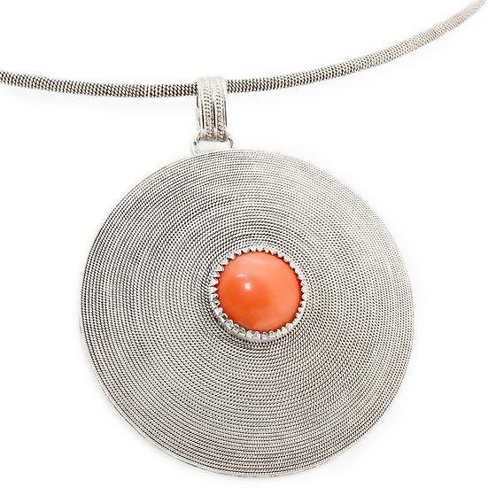 corbula sarda, collier in argento e corallo