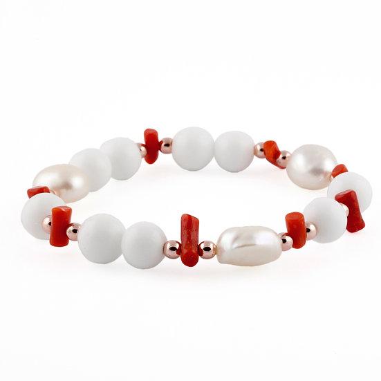 Bracciale elastico Agata bianca, Perle e Corallo