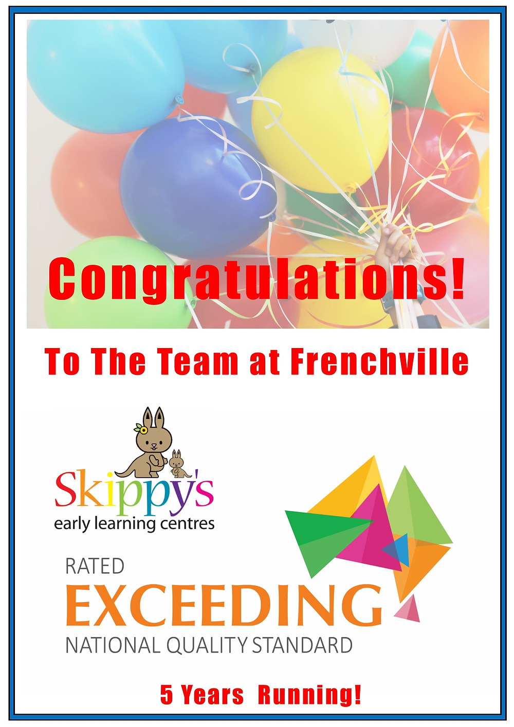 Skippy's ELC Frenchville awarded Exceeding NQS Rating