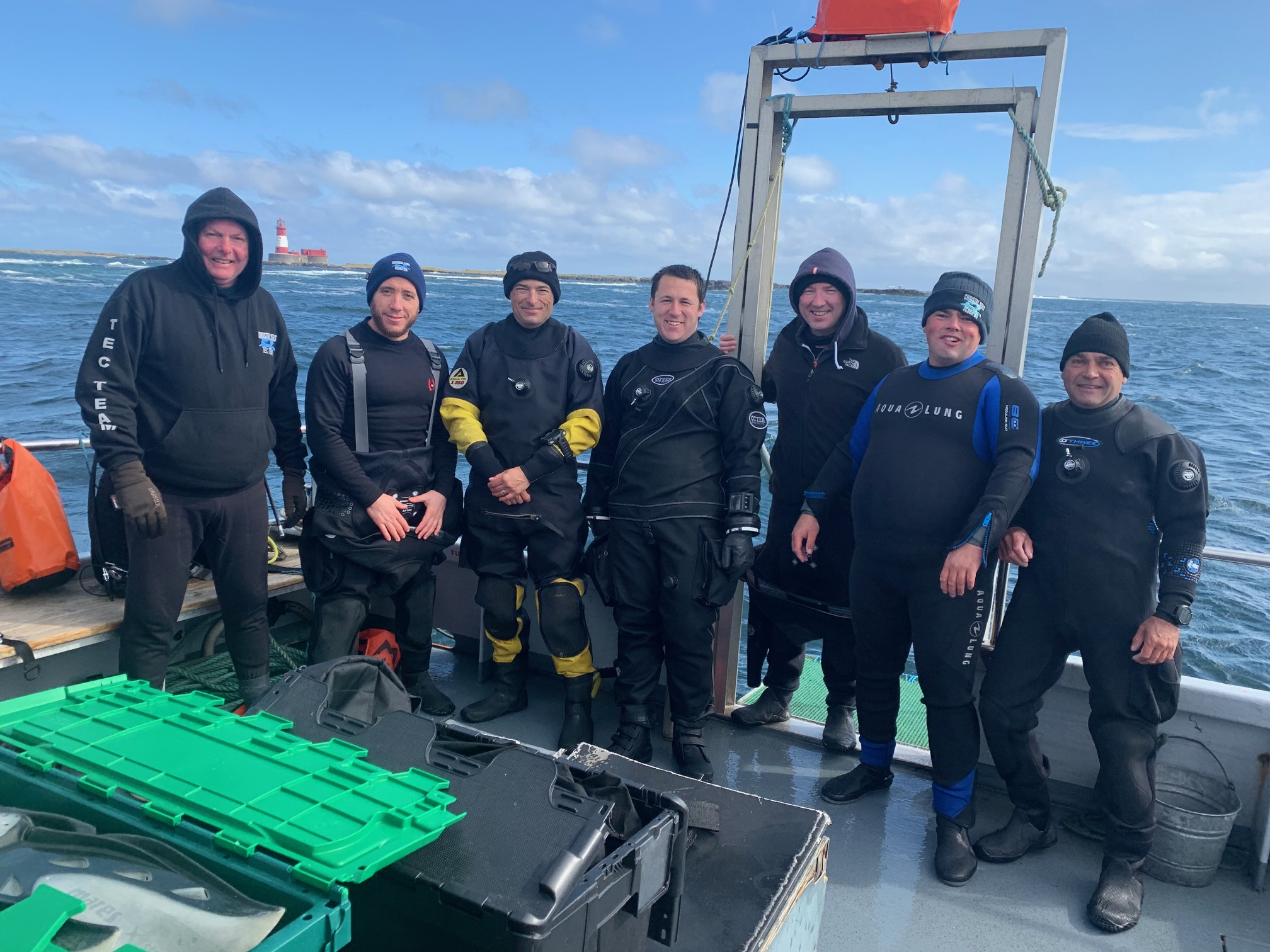 dive group on boat