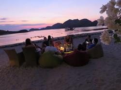 sunset and bar
