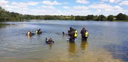 lake and divers