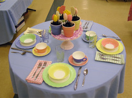 Cremax Bordette Pastel Table setting - MacBeth Evans Glass Company