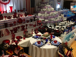 Red White and Blue Depression Glass Display