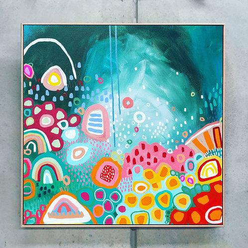 REEF DAY - 93cm x 93cm - Framed Print