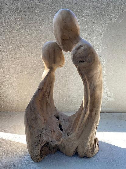Teak Root Sculpture 'Kisses'