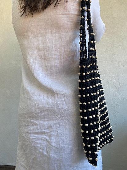 Black Cotton Bead Weave Bag