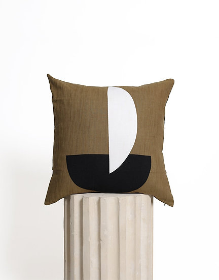 Kim Soo Khaki Geo Cushion, with Feather insert