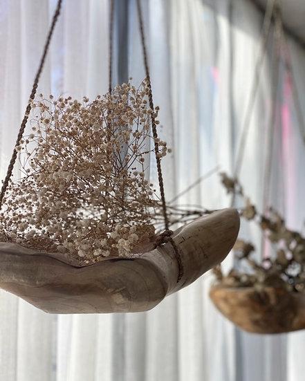 Hanging timber bowl