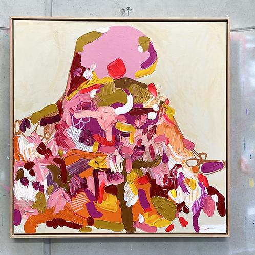 Pink Boulder on a Hill | 103cm x 103cm | Original
