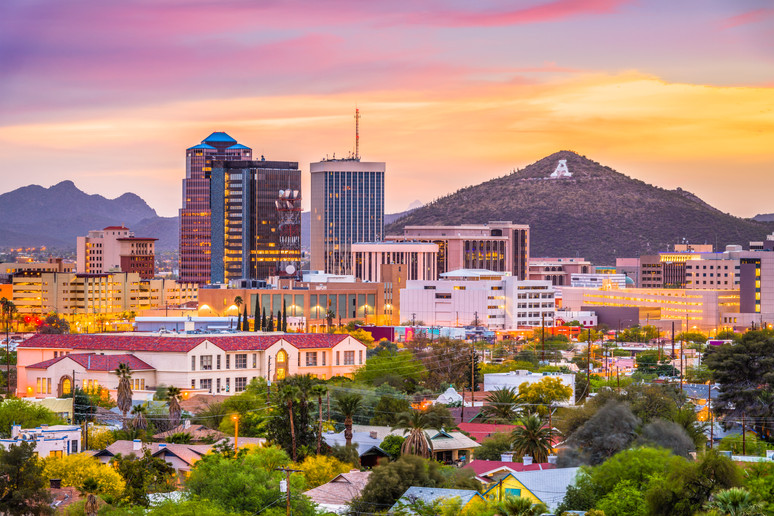 Tucson, Arizona, USA downtown skyline wi