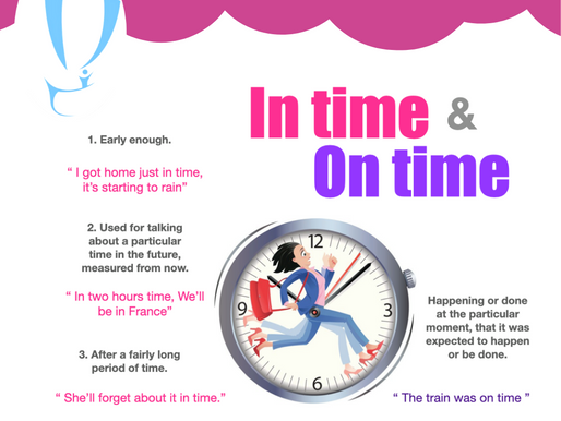 VOCABULARY: DIFERENCIA IN TIME & ON TIME