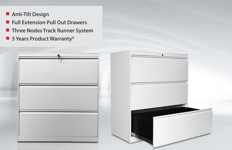 Lateral Three Drawer Filing Cabinet