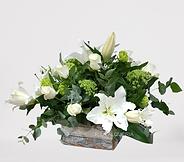 Caja de madera con flor natural en color blanco