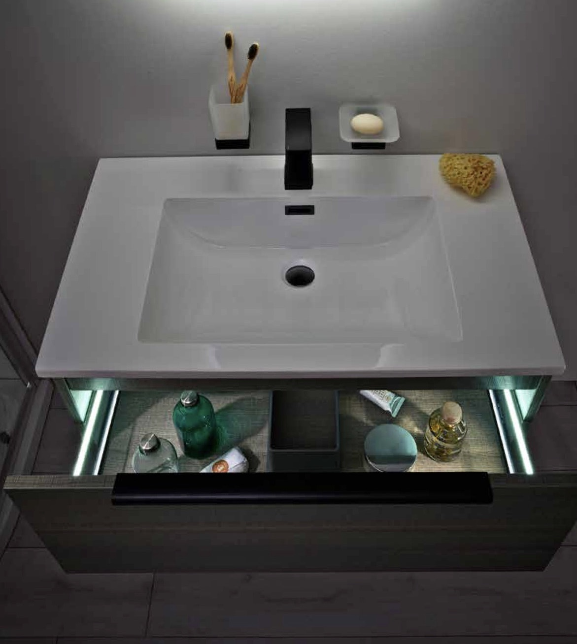 LED Lit Basin Unit