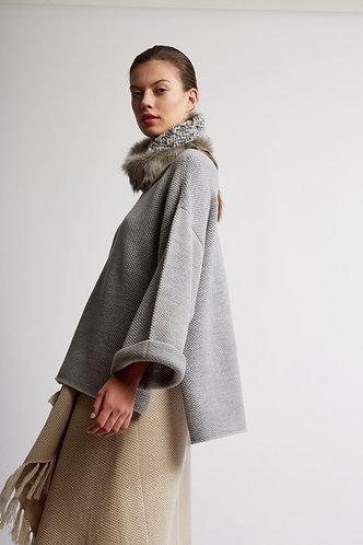 Knit Fur Cowl neck