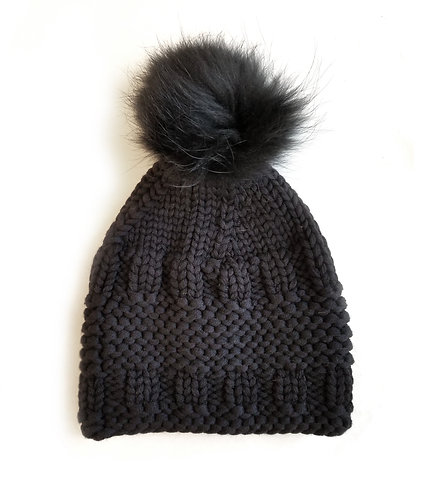 Hand-Knit Merino Wool and Fur Hat