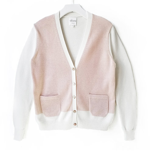 Bi-Color Buttoned Down Cardigan