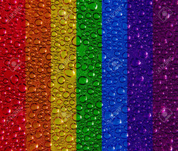 14605740-Condensed-water-droplets-on-a-rainbow-background-Stock-Photo