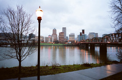Dusk Falls on Downtown River