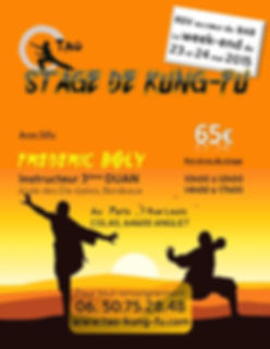 Stage Kung Fu traditionnel le 23 et 24 Mai