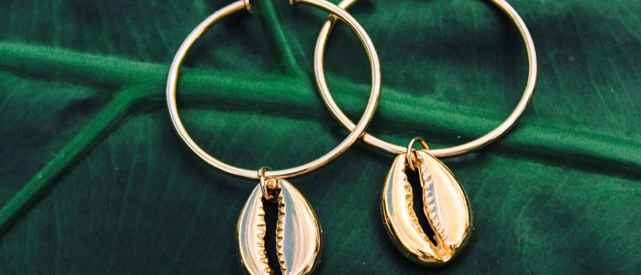 Cowrie gold hoops