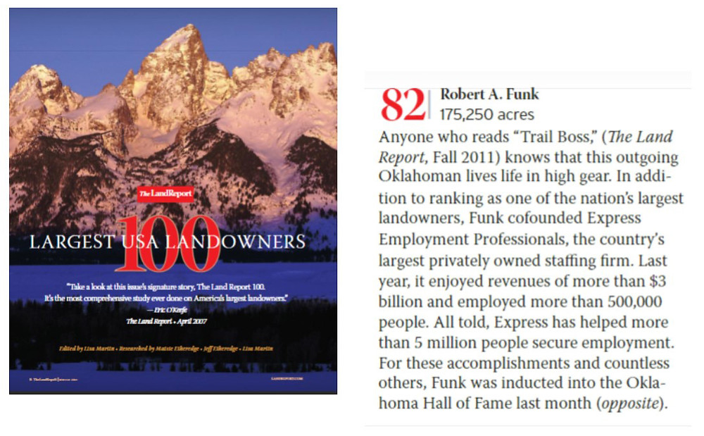 Bob Funk ranked among top 100 land owners in U.S.