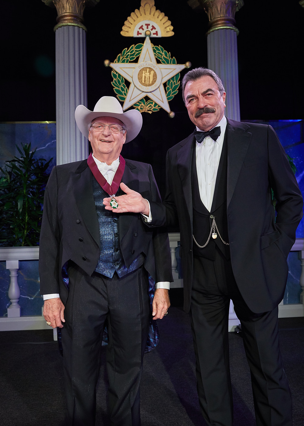 Actor and friend Tom Selleck helped induct Bob Funk into the Oklahoma Hall of Fame