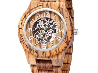 【NEW】木製腕時計(自動巻き、スケルトン)