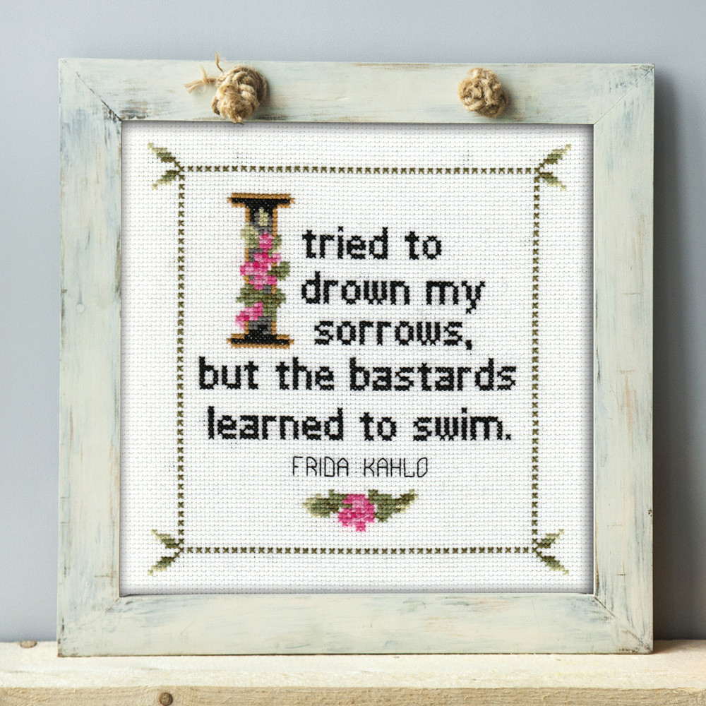 Frida Kahlo Quote Cross Stitch Chart