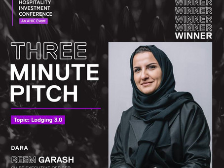 Reem Garrash, CEO of Shada Hospitality won the 3-minute pitch of hotel owners that unveiled DARA Hos