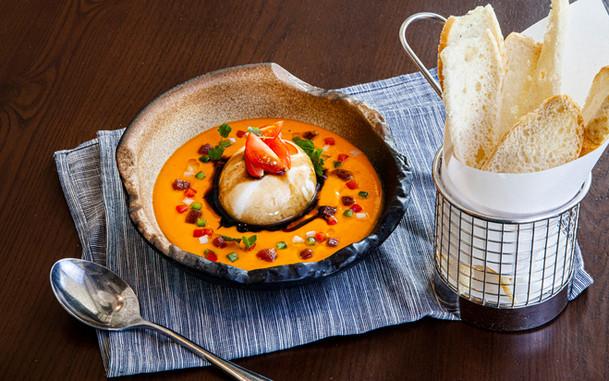 Burratina Cheese With Raspberry Gazpacho