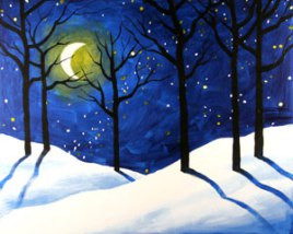 Just for Fun Art Acrylic Classes - Winter Themes Now booking