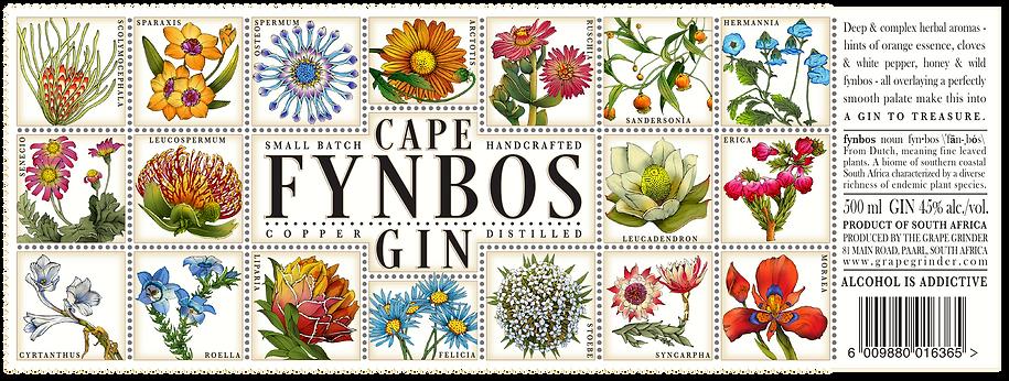 CAPE FYNBOS GIN LABEL SOUTH AFRICAN DESIGN