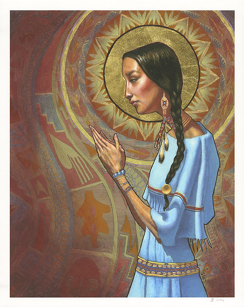 Indian Praying Portrait Giclée Print
