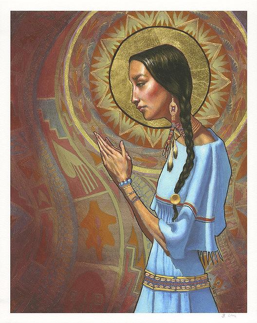 Indian Praying Portrait Giclée Print
