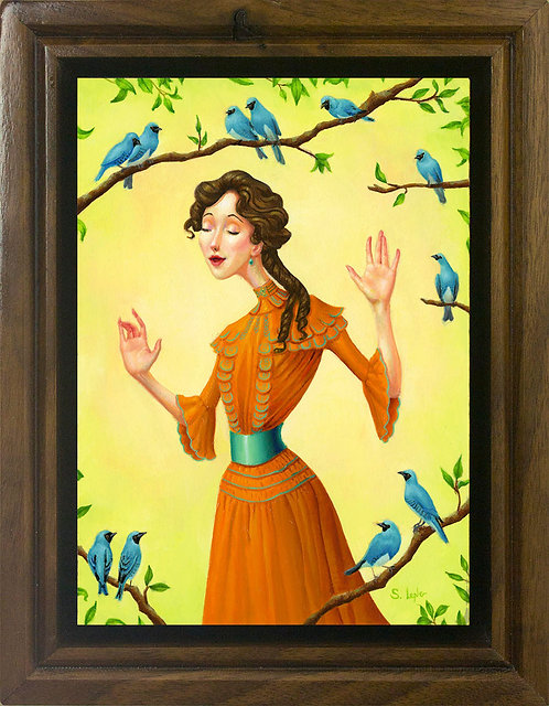 Whimsical Edwardian Lady with Birds Original Oil Painting in Custom Walnut