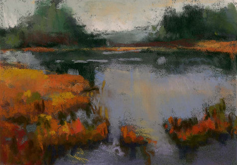 Islands on River Pastel Painting Study