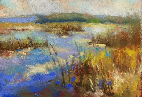 Marsh River Pastel Painting Study