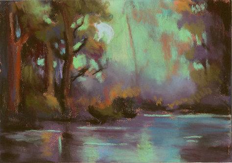 Green Fantasy Lake Pastel Painting Study