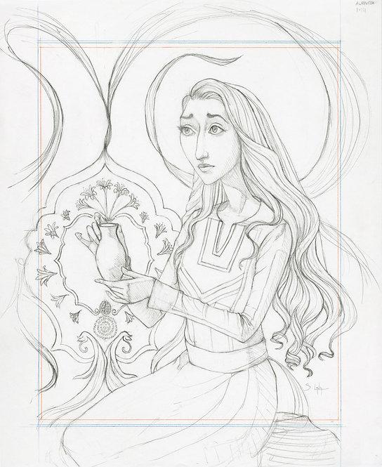 """""""The Alabaster Box"""" Original Drawing by Samantha Long"""