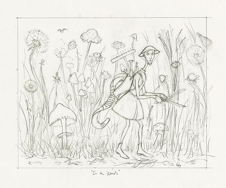 Whimsical Gardener in Oversized Garden Original Drawing