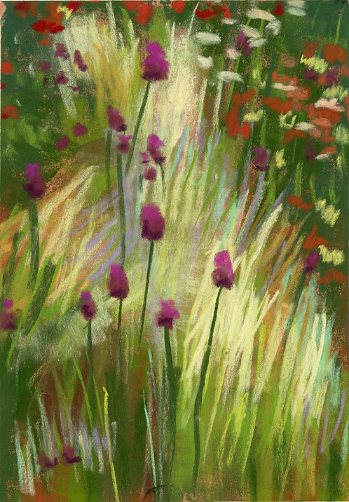 Wildflowers & Grasses Field Pastel Painting Study