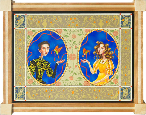 Whimsical Double Portrait in Ovals in Custom Hardwood Frame