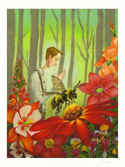 Bee with Flowers with Joseph Smith Praying Giclée Print
